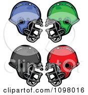 Clipart Blue Green Black And Red Football Helmets Royalty Free Vector Illustration