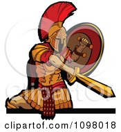 Clipart Stabbing Spartan Warrior Mascot Holding His Shield To The Side And Shown From The Knees Up Royalty Free Vector Illustration