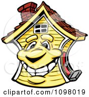 Clipart Happy Yellow Home Mascot Smiling Royalty Free Vector Illustration by Chromaco