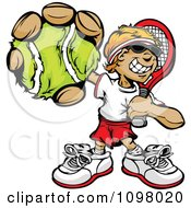 Clipart Happy Tennis Player Boy Holding Out A Ball Royalty Free Vector Illustration by Chromaco