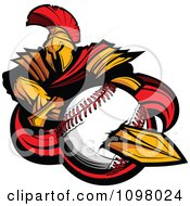 Clipart Spartan Trojan Warrior Mascot Stabbing A Soccer Ball With His Golden Sword Royalty Free Vector Illustration