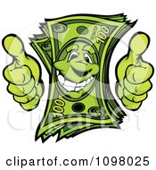 Clipart Happy Cash Money Mascot Holding Two Thumbs Up Royalty Free Vector Illustration by Chromaco