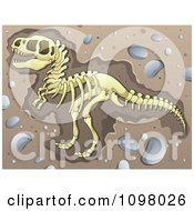 Clipart Excavated Tyrannosaurus Rex Dinosaur Skeleton In Dirt Royalty Free Vector Illustration