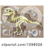 Excavated Tyrannosaurus Rex Dinosaur Skeleton In Dirt
