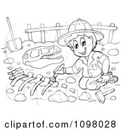 Clipart Outlined Paleontologist Brushing Dinosaur Bones Royalty Free Vector Illustration by visekart
