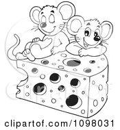 Clipart Black And White Cute Mice With A Wedge Of Cheese Royalty Free Vector Illustration