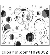 Clipart Black And White Cute Mice Playing In Cheese Royalty Free Vector Illustration
