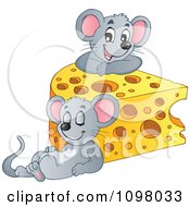 Clipart Cute Mice With A Wedge Of Cheese Royalty Free Vector Illustration