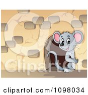 Clipart Cute Mouse Looking Through A Hole In A Stone Wall Royalty Free Vector Illustration