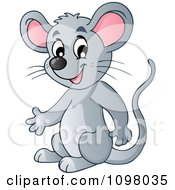 Clipart Happy Gray Mouse Presenting Royalty Free Vector Illustration