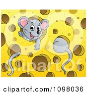 Clipart Cute Mice Playing In Cheese Royalty Free Vector Illustration