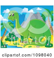 Clipart Happy Green Brontosaurus Dinosaur Near Mountains Royalty Free Vector Illustration by visekart