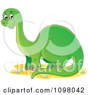 Clipart Happy Green Brontosaurus Dinosaur Royalty Free Vector Illustration