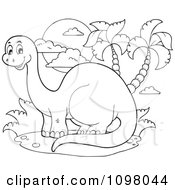 Clipart Outlined Happy Brontosaurus Dinosaur By Palm Trees Royalty Free Vector Illustration by visekart