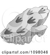 Clipart Slab With Fossilized Dinosaur Foot Prints Royalty Free Vector Illustration