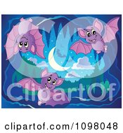 Clipart Cute Purple Bats In A Cave Royalty Free Vector Illustration by visekart