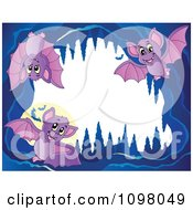 Clipart Frame Of Cute Purple Bats In A Cave Royalty Free Vector Illustration by visekart