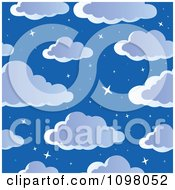 Clipart Seamless Cloudy Night Sky With Stars Background Royalty Free Vector Illustration