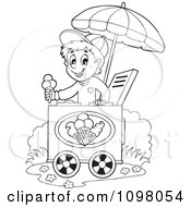 Clipart Outlined Happy Ice Cream Vendor Boy Holding Out A Cone Royalty Free Vector Illustration by visekart