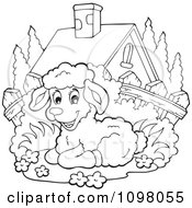 Clipart Outlined Cute Lamb Resting By A House Royalty Free Vector Illustration