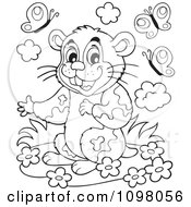 Clipart Cute Outlined Hamster With Flowers And Butterflies Royalty Free Vector Illustration by visekart