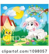 Poster, Art Print Of Cute White Lamb And Chick In A Spring Meadow