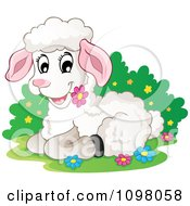 Clipart Cute White Lamb Resting And Eating A Daisy Royalty Free Vector Illustration by visekart