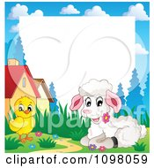 Clipart Easter Frame With A Cute White Lamb And Chick Around White Space Royalty Free Vector Illustration