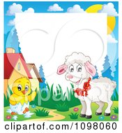 Clipart Easter Frame With A Cute White Lamb And Hatching Chick Around White Space Royalty Free Vector Illustration