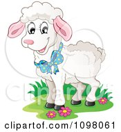 Clipart Cute White Lamb Wearing A Blue Bow Royalty Free Vector Illustration