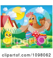 Clipart Cute Easter Chick And Hen With Eggs Royalty Free Vector Illustration by visekart