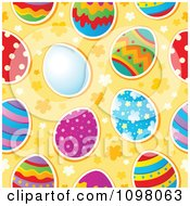 Clipart Seamless Background Of Colorful Easter Eggs On Orange Royalty Free Vector Illustration