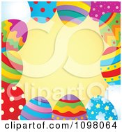 Clipart Frame Of Colorful Easter Eggs And Orange Copyspace Royalty Free Vector Illustration