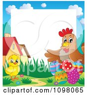 Clipart Cute Easter Chick And Hen With Eggs And Copyspace Royalty Free Vector Illustration