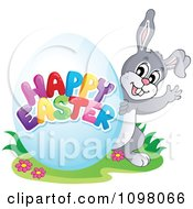 Clipart Waving Bunny And A Happy Easter Greeting Egg Royalty Free Vector Illustration by visekart