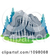 Clipart Exterior View Of A Cave Entrance With Formations Royalty Free Vector Illustration by visekart