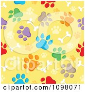 Clipart Seamless Background Of Animal Paw Prints And Bones On Yellow Royalty Free Vector Illustration
