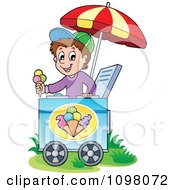 Clipart Happy Ice Cream Vendor Boy Holding Out A Cone Royalty Free Vector Illustration by visekart