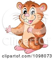 Clipart Cute Brown Hamster Presenting Royalty Free Vector Illustration by visekart