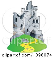 Clipart Hill Castle In Ruins Royalty Free Vector Illustration