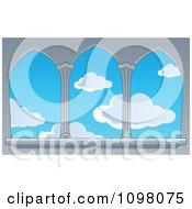 Clipart View Of A Blue Sky With Puffy Clouds Through Castle Windows Royalty Free Vector Illustration by visekart