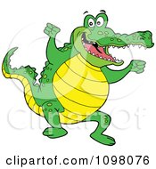 Clipart Happy Cheering Gator Jumping Up And Down Royalty Free Vector Illustration by LaffToon