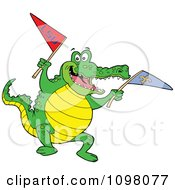Clipart Happy Sports Fan Gator Jumping Up And Down With Flag Royalty Free Vector Illustration by LaffToon