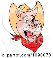 Clipart Happy Cowboy Pig Drooling Royalty Free Vector Illustration