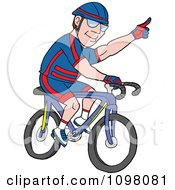 Male Cyclist Gesturing For A Turn With His Hand