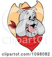 Clipart Happy Cowboy Bulldog Drooling Royalty Free Vector Illustration