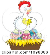 Clipart Loving White Hen Holding Her Chicks In A Nest Of Easter Eggs Royalty Free Vector Illustration by Maria Bell