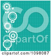 Clipart Patterned Teal Background With A Border Of Bees And White Flowers Royalty Free Vector Illustration