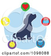 Clipart Silhouetted Seated Puppy In A Blue Circle Surrounded By Dog Items Royalty Free Vector Illustration