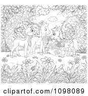 Clipart Coloring Page Of Horses And A Deer In A Meadow Royalty Free Illustration by Alex Bannykh